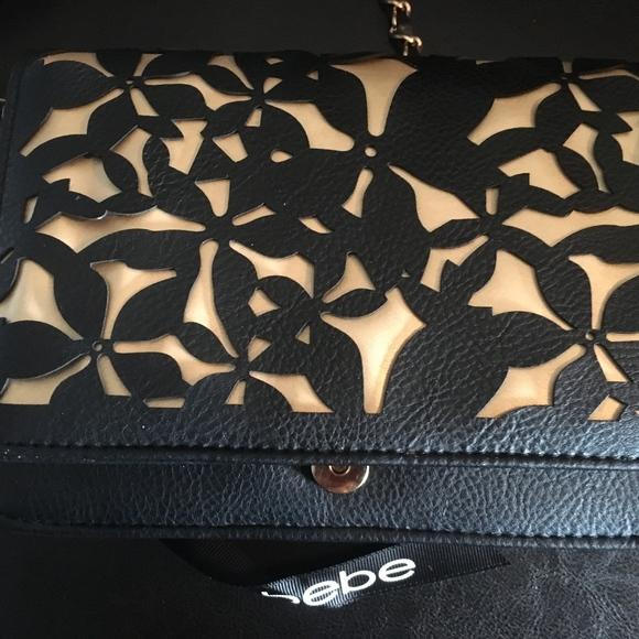 Bebe Handbags - Bebe Laser Cut Black on Gold Crossbody Gold Chain